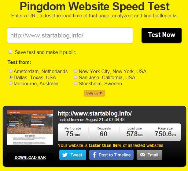 Start a Blog Speed Test